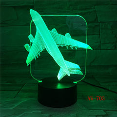 Air Plane 3D Light Table Lamp Optical Illusion Night Light 7 Colors Changing Mood Lamp Salt Lamp With Motion Sensor AW-703