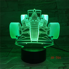 7 Colors Changing Led Night Light 3D F1 Racing Car Modelling Luminarias Modern Bedroom Atmosphere Desk Lamp Usb Gifts AW-704
