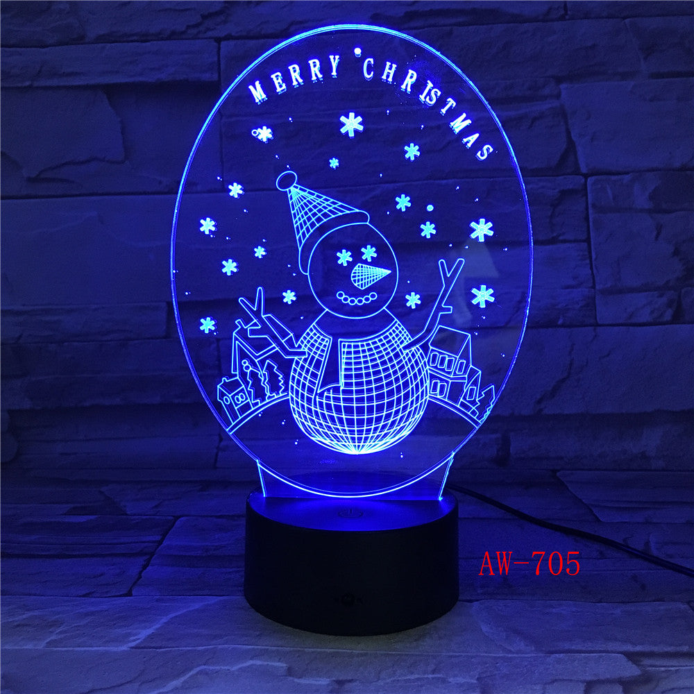 USB Night Light 3D Visual illusion lamp Children New Year Gifts Table Light Skull Guitar Snowman Color Change LED lights AW-705