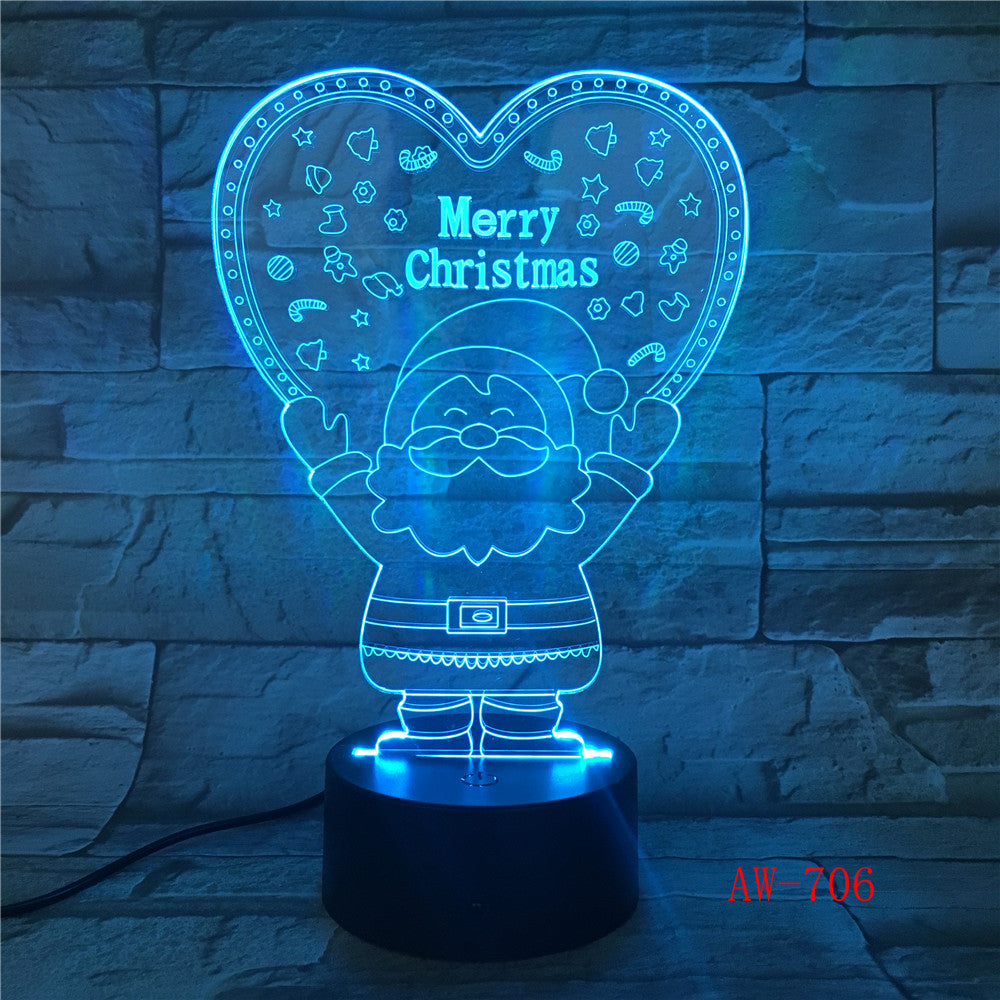 Xmas Series Christmas Decorations Home Party 3D Lamp LED Night Light Luminaria Santa Claus Tree Snowman Christmas Gifts AW-706