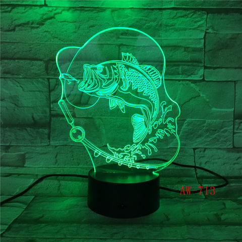 7 Color Changing Fish 3D led Lamp USB Charge Fishing 3D night light Desk lamp Touch Button Table Lamps Gifts for Kids AW-713