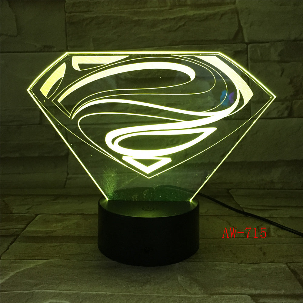 3D LED DC Superman Logo Symbol Light Night Desk Table Lamp 7 Color Change Flashlight USB RGB Controler Toy Kids Gift AW-715