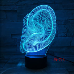Creative 3D Visuale Ear Modl Illusion Lamp LED 7 Color Changing Novelty Bedroom Night Light Music Home Decor Dropshipping AW-716