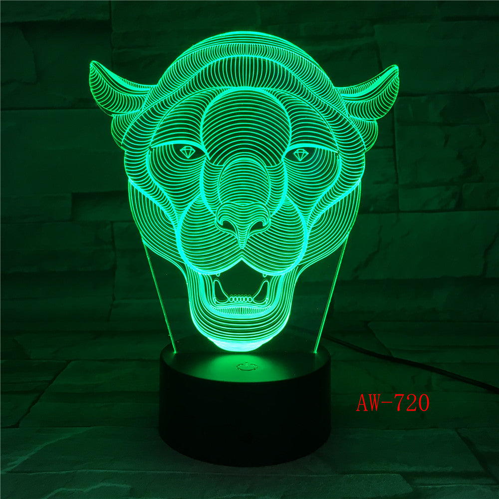 Lion Night Light 7 Color Changing Animal LED Night Lights 3D LED Desk Table Lamp for Children Friends Decoration Gift AW-720