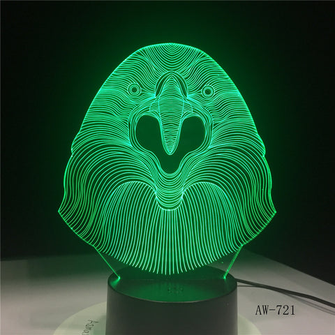3D LED Lamp Vulture Owl Desk Night Light 7 Color Change Remote Controller Holiday Decor Christmas Gift boy Baby Toy Lava AW-721