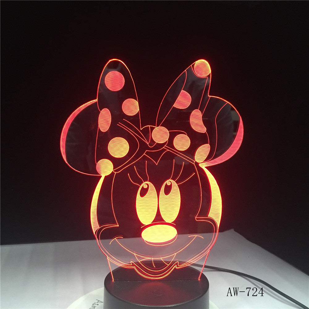 Cartoon Lovely Minnie Mouse Head Multicolor 3D RGB LED Night Light Mixed Dual Color Change Desk Lamp Christmas Kids Gift AW-724