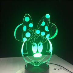 3D Cartoon Minnie Mouse LED RGBW Night Light 7 Color Change Desk Table USB Lamp for Child Kids Gift Novelty Home Decor AW-724