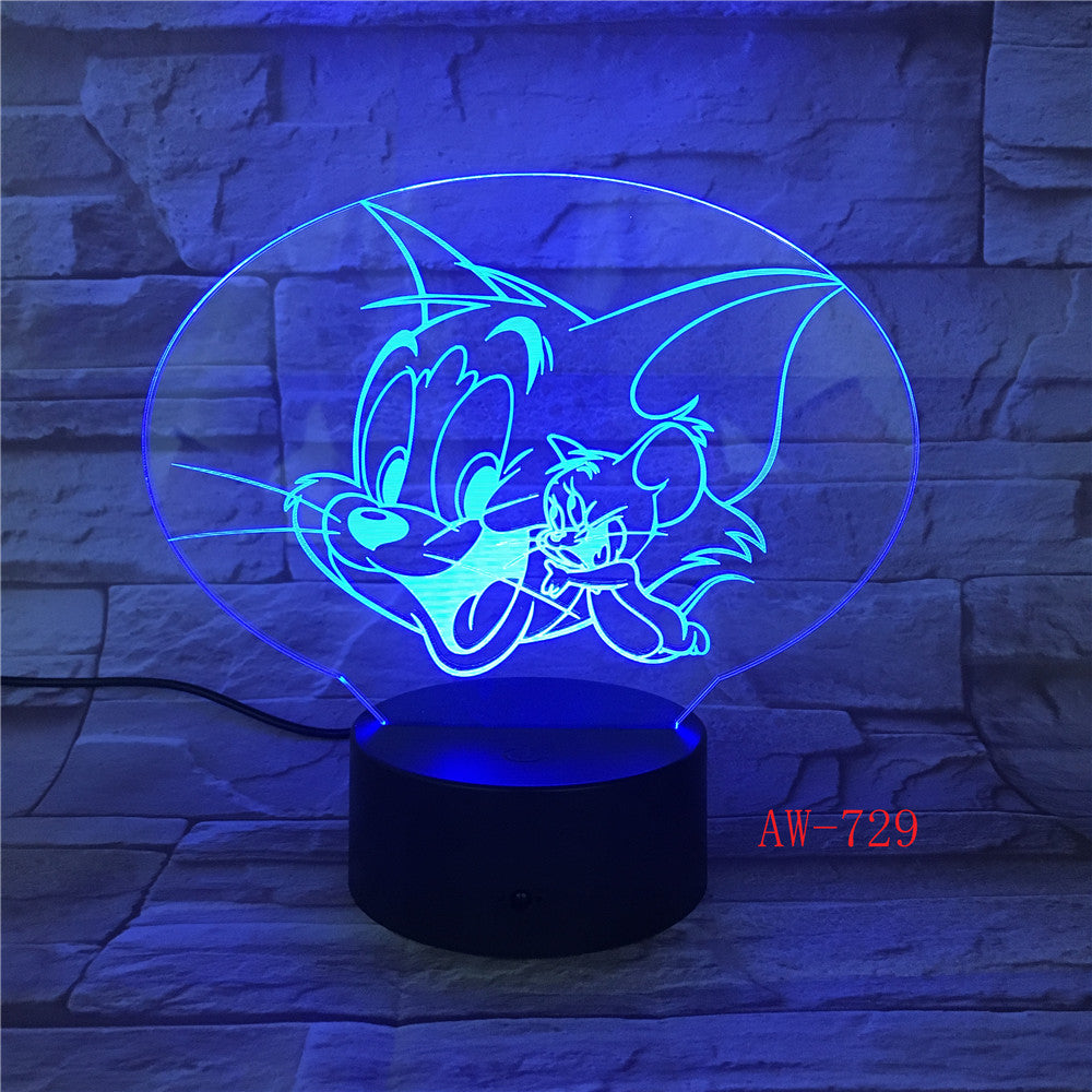 Cartoon Tom and Jerry Led Night Light Bedroom Decoration Atmosphere Touch Sensor Kids Child Gift Cat Mouse 3d Night Lamp AW-729