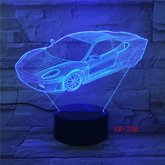 7 Colors Change Home Decor Light Fixture LED Car Shape Light USB 3D Luminarias Vehicle Modelling Night Light Desk Lamp AW-730