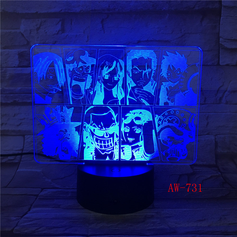 One Piece Team Night Light Luffy Sanji Zoro Nami 3D LED Illusion Table Lamp Colors Changing Luminaria Touch Lights Decor AW-731
