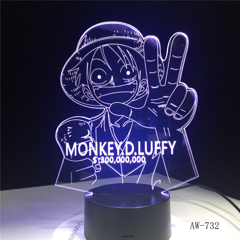 3D LED Luffy Night Light 7 Colors Changing One Piece Desk Lamp Bedroom Atmosphere Anime Decor Light Fixtures Kids Gifts AW-732