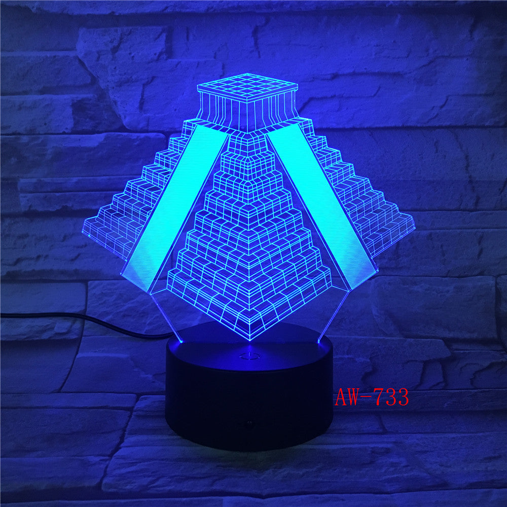 Pyramid in Mexico Light 7 Colors Changing Lamp USB Bedside Table Night Light Bedroom Decor Gifts 3D Light LED Night light AW-733