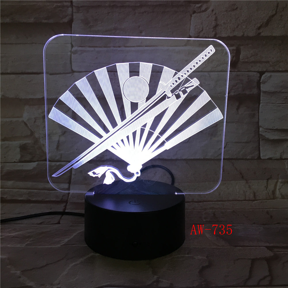 apan's Knife And Fan 3D LED Lamp 7 Color Led Night Lamps For Kids Touch Usb Table Lampara Lampe Sleeping Nightlight Gift AW-735
