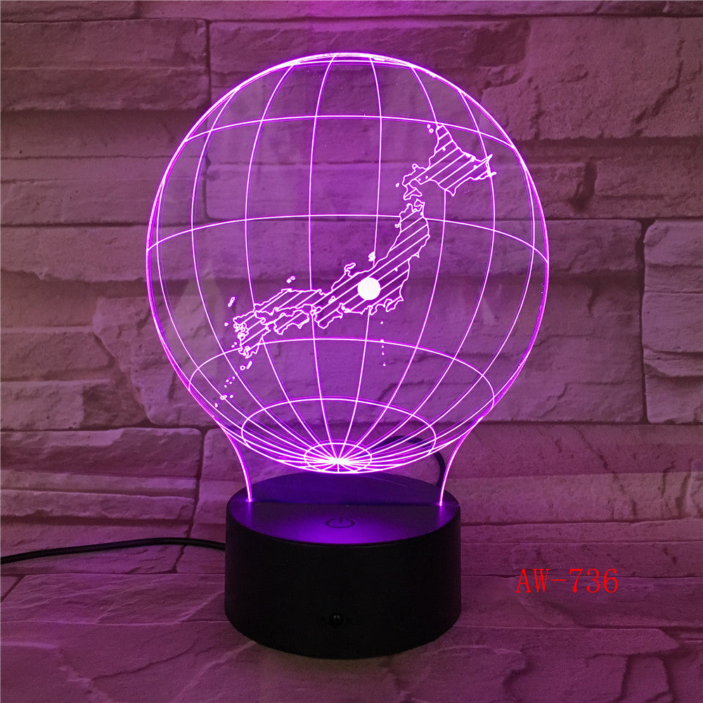 Japan Map 3D Night Light LED Acrylic Stereo Vision Decor Lamp 7 Colors Changing USB Bedroom Night light Desk Table lamp AW-736