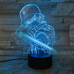 3D Led Vision Anime Luffy Modelling Night Light Usb One Piece Table Lamp 7 Colors Changing Home Decor Light Fixtures AW-738