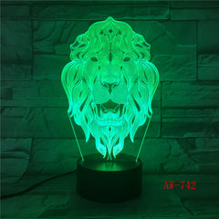 Lion Face Night Light 7 Colors Changing Animal LED Night Lights 3D LED Desk Table Lamp as Home Decoration Drop Shipping