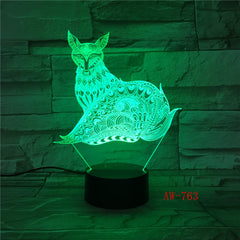 7 Colorful USB Dog Model 3D Lamp Bedroom Sleep Light LED Table Lamp Soccer Child Night Lights Office Light Decor AW-763