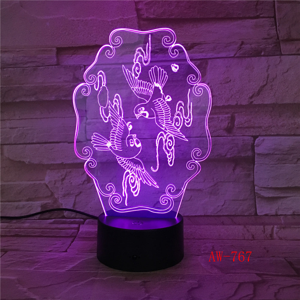 Amazing Flying Bird 3D Illusion Night Light Acrylic USB Touch Remote 7 Color Desk LED Lamp Bedroom Home Decration Kid Gift 767