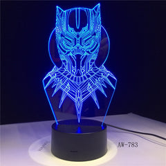 Cool Black Panther Marvel Hero 3D LED RGB 7 Color Change Desk Lamp USB for Child Kids Boy Gift Christmas Home Decor AW-783