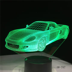 Sports Car 3D LED Night Lamp 7 Colors USB Hologram Decor Lamp Table Desk Lights Birthday Party Gift For Children Friends AW-787