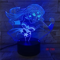 Wonder Woman 3D Lamp 7 Color Led Night Lamps For Kids Touch Led Usb Table Lampara Lampe Baby Sleeping Nightlight Led AW-789