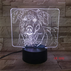 Bulldog Poodle Jack Russell Terrier Rottweiler Dobermann 3D Visual Illusion Lamp Kids Night Light Dog Style Lamp AW-800
