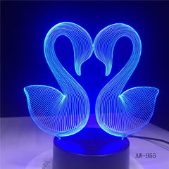 3D Sweet Double Kiss Swam Decoration Bedroom Atmosphere LED 7 Color Change Night Table Lamp Romantic Valentine's Day Gift AW-955