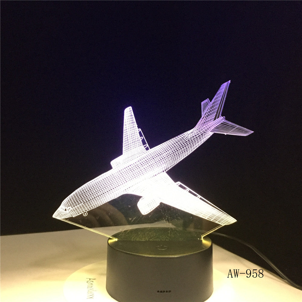 3D Decor 7 Color Change Helicopter Modelling Table Lamp Usb Aircraft Bedside Light Fixture Air Plane Night Light Gifts AW-958