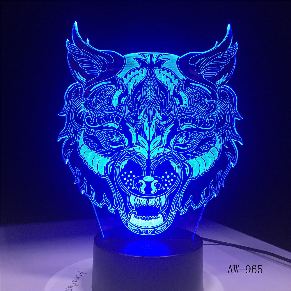 Cartoon 7 Colors Wolf Face 3d led light Amazing Visualization Optical Illusion Home Decor Kids Best Gift Drop Ship AW-965