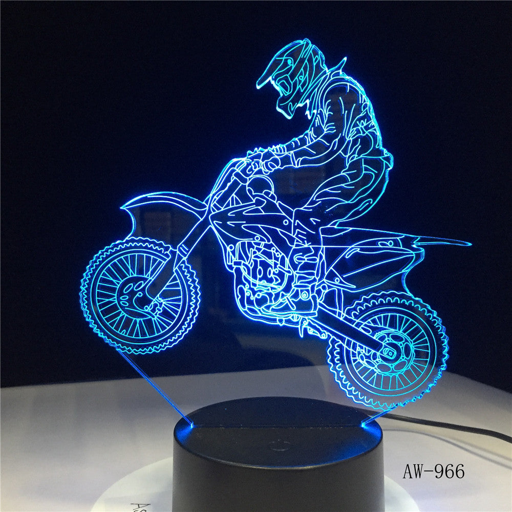 Novelty 3D Table Lamp 3D Motocross Bike Night Lights LED USB 7 Colors Sensor Desk Lamp as Holiday Gift Drop Shipping AW-966