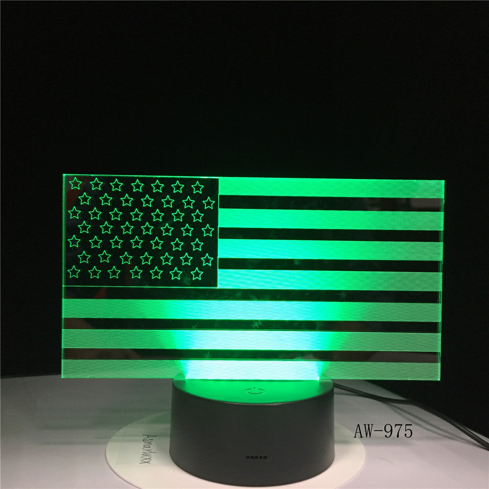7 Color Changing USB Bedroom Decor American Flag Stripes Shape Table Lamp 3D LED Night Lights Bedside Sleep Light Gifts AW-975