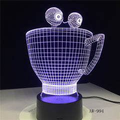Cartoon Cup Bottle Colorful Touch Led Night Light 3d Illusion USB Table Lamp for Children Baby Kids Gift Bedside Bedroom AW-994