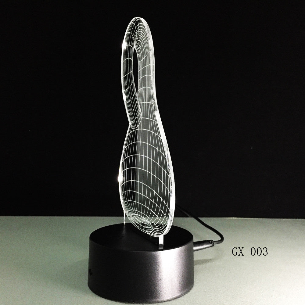 3D LED Night Light Hot Sale ABS Touch Base 7 Color Changing Abstract Mood Lamp LED Table Illusion for Home Decorative GX-003