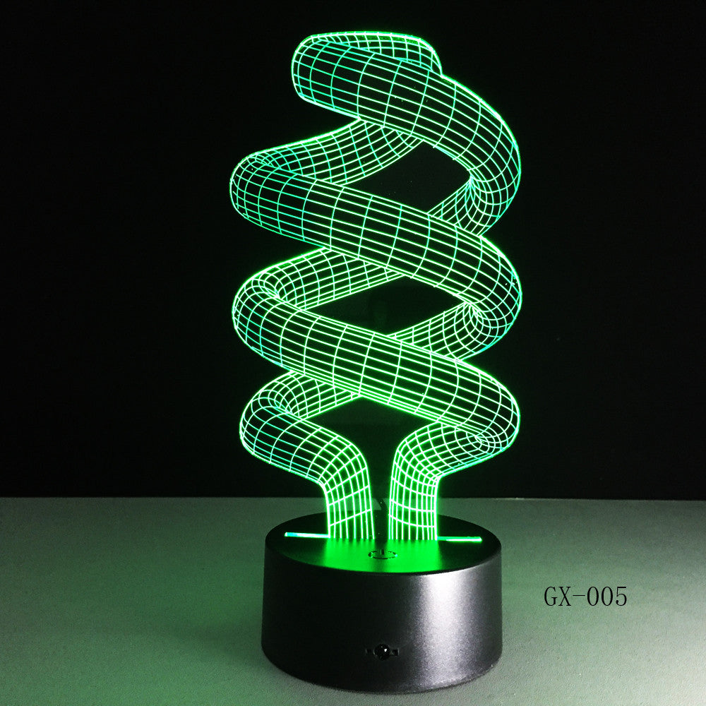 DNA 3D Desk Lamp LED Visual Abstract Digital Modeling Atmosphere Decor Holiday Gift Touch Switch 7 Color Night Light GX-005