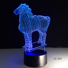 New Animal Horse 3D Nightlight 7 Colorful Touch Remote Usb Gifts 3d Light Fixtures Usb Led Luminaria Table Lamp 007