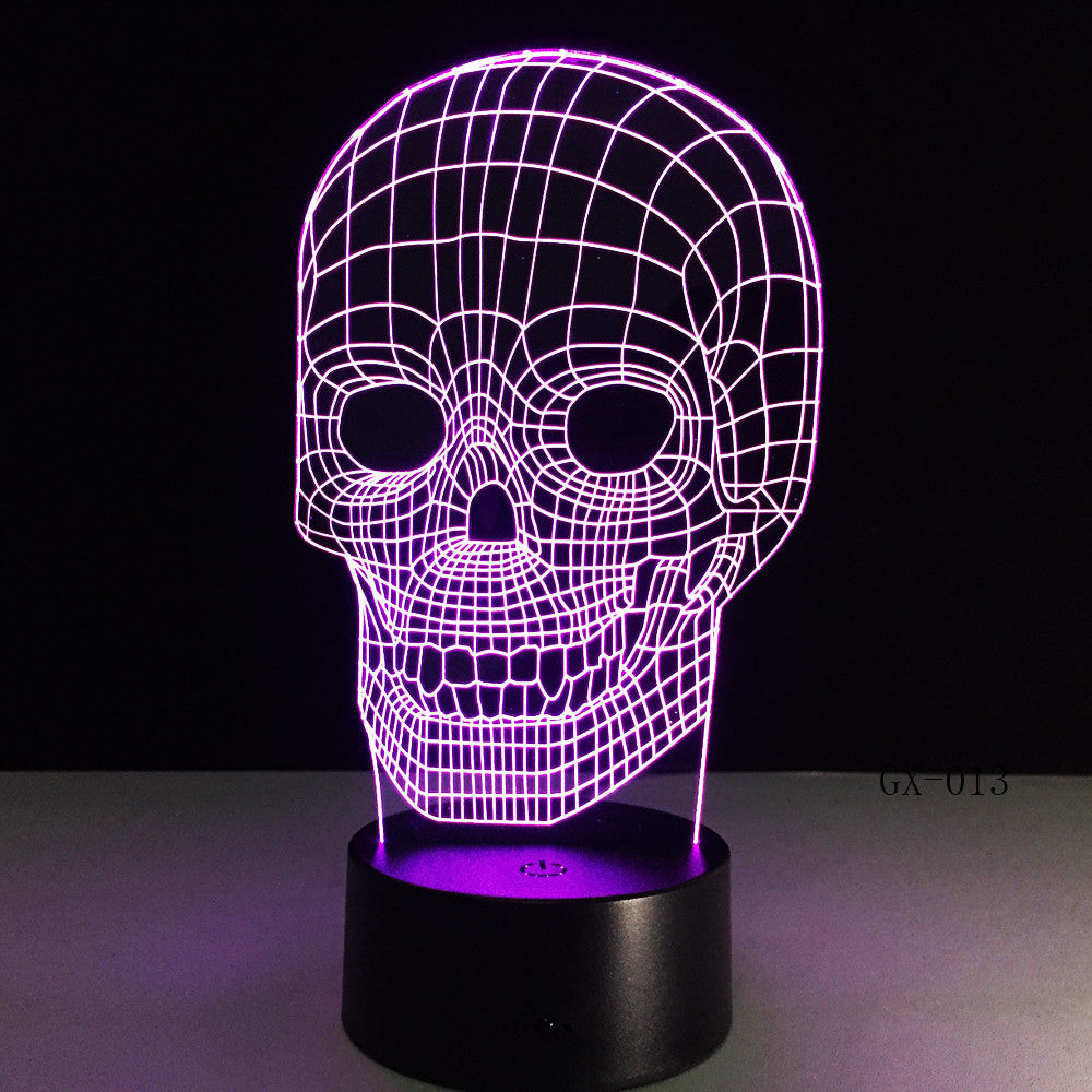Traditional 3D Skull Light Desk Table Bedroom Lamp RC Toy Kid Night Sleep Baby Sleeping Nightlight Home Party Decor Gifts GX-013