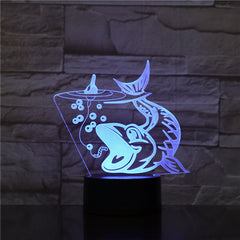 7 Color Fish Shape 3D LED Night Light RGB Mood Animal USB Touch Desk Table Lamp Home Bedroom Party Decor For Kids Gift Drop 1545