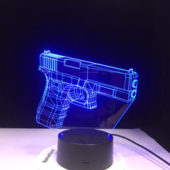 Infantry Night Light LED 3D Illusion USB Touch Sensor RGBW Child Kids Gift FPS Game Weapon Gun M4 AK 47 Table Lamp desk