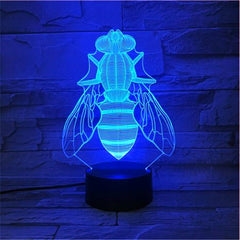 7 Color Changing USB 3D Led Bees Cartoon Animal Desk Lamp Bedroom Night Light Bedside Decor Baby Sleep Lightings 557