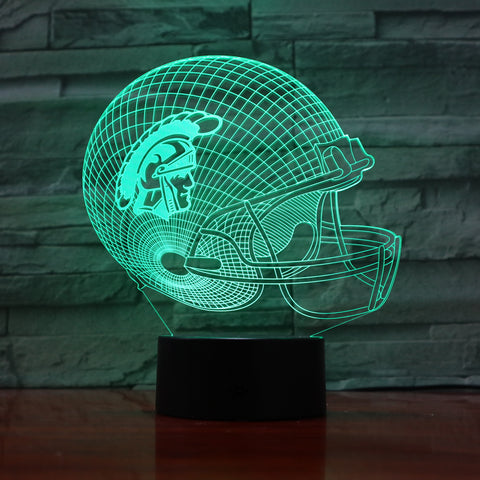 American Football Helmet - 3D Optical Illusion LED Lamp Hologram