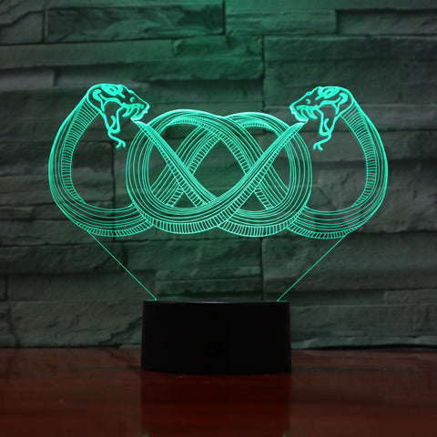 Snakes - 3D Optical Illusion LED Lamp Hologram