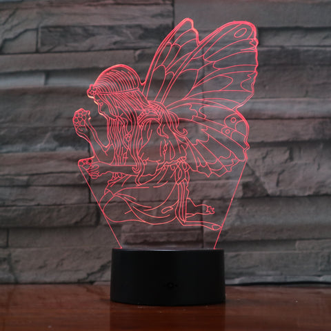 Butterfly girl - 3D Optical Illusion LED Lamp Hologram