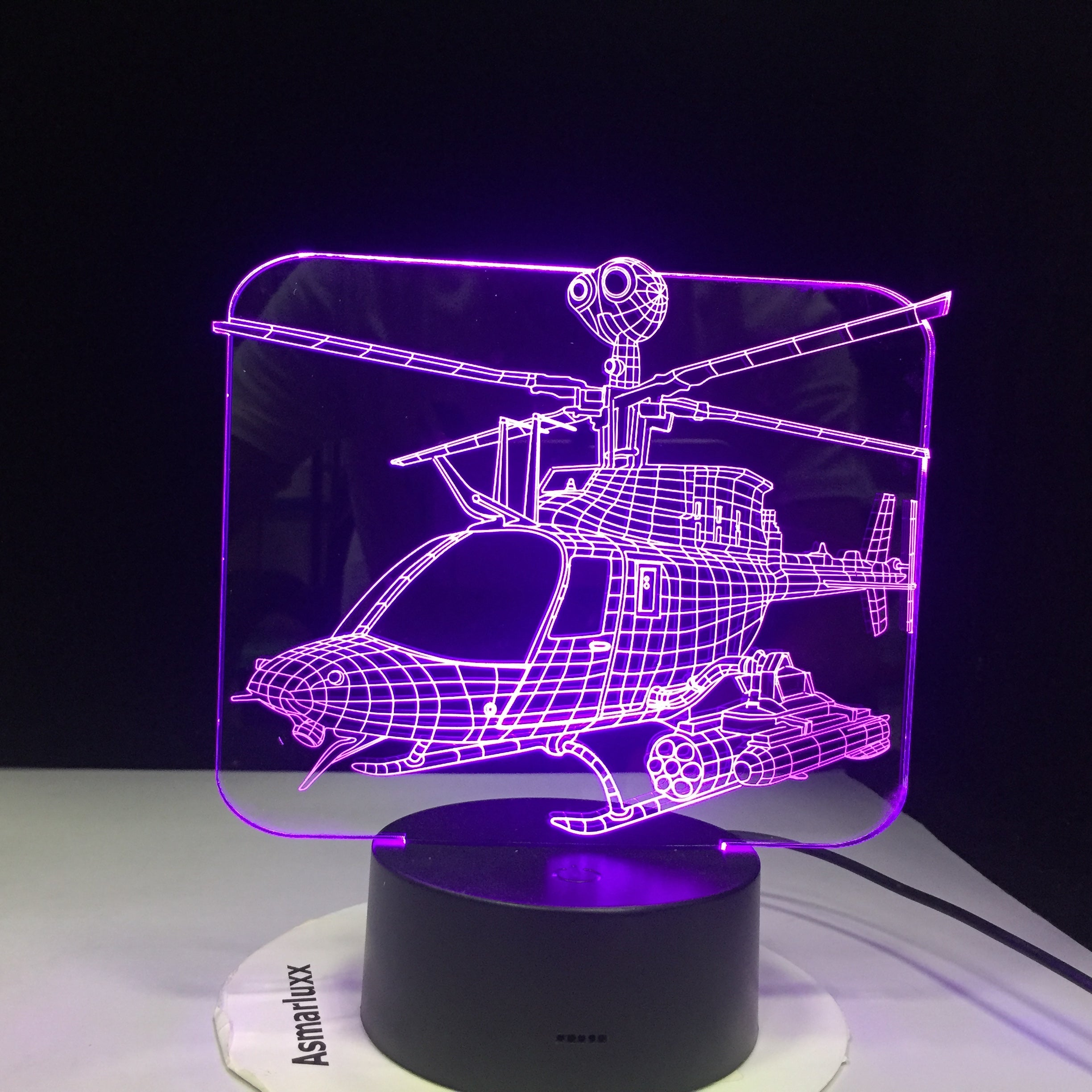 3D Led Home Decor 7 Color Change Helicopter Table Lamp Usb Aircraft Bedside Light Fixture Air Plane Night Light Gifts AW-1143