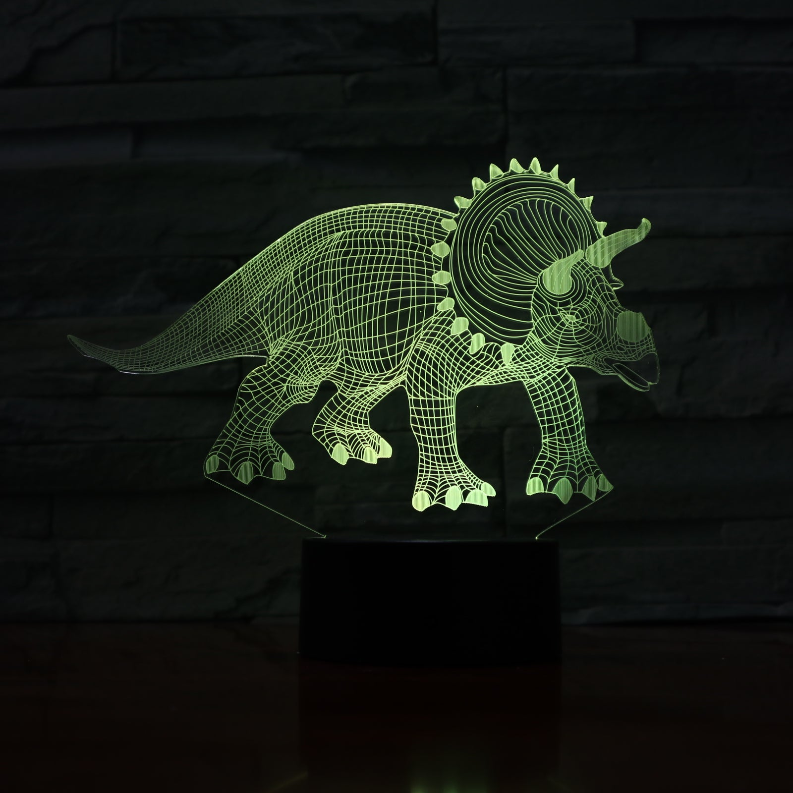 Triceratops - 3D Optical Illusion LED Lamp Hologram