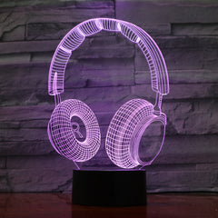 Headphones - 3D Optical Illusion LED Lamp Hologram