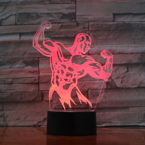Strong Man - 3D Optical Illusion LED Lamp Hologram
