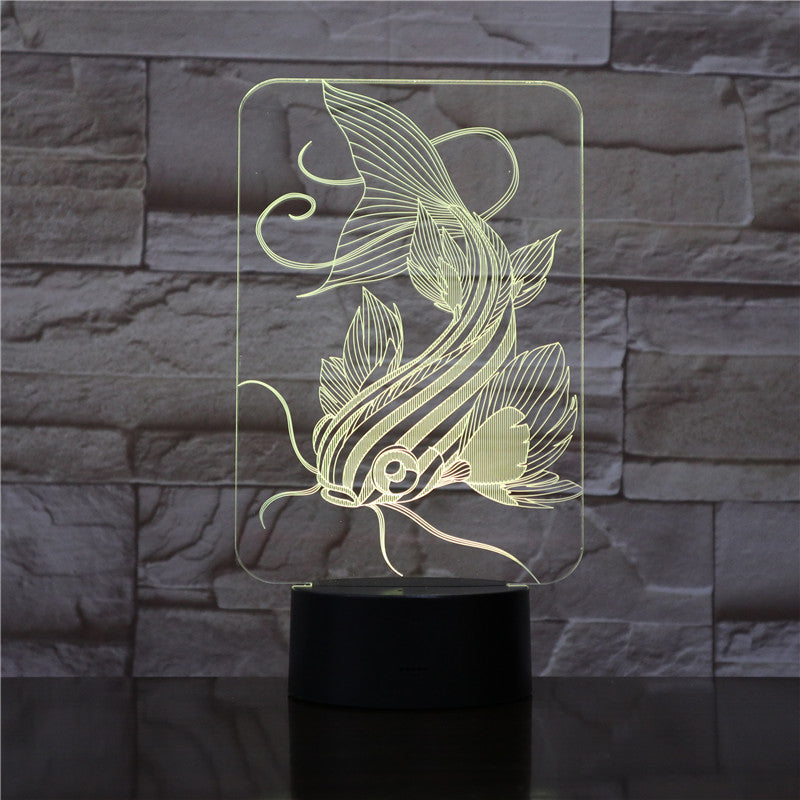 7 Color Changing Fishing 3D Lamp USB Charger Fish 3D Night Light Touch Button Remote Control Table Lamps Friends Kids Gift 1733