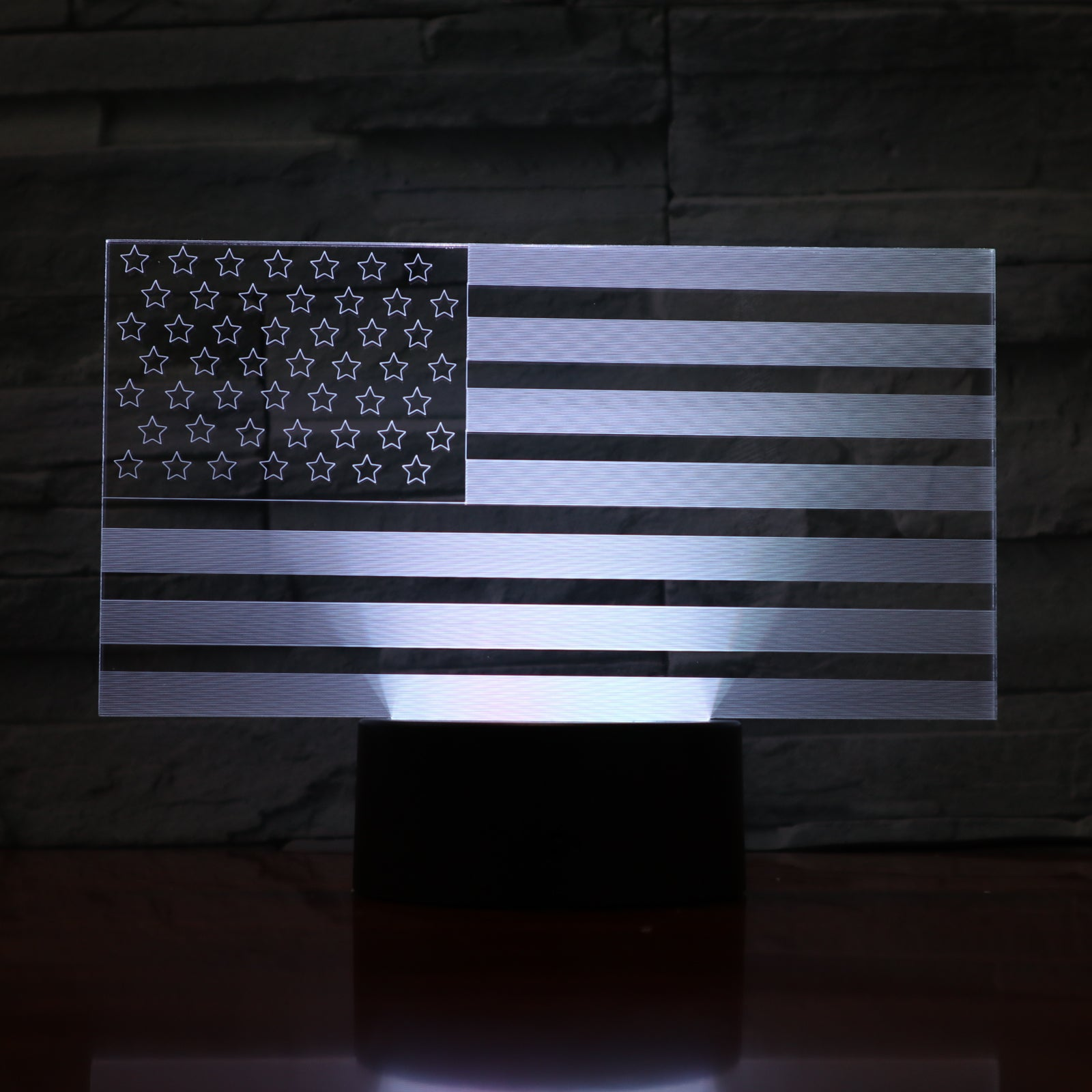 United States Flag - 3D Optical Illusion LED Lamp Hologram