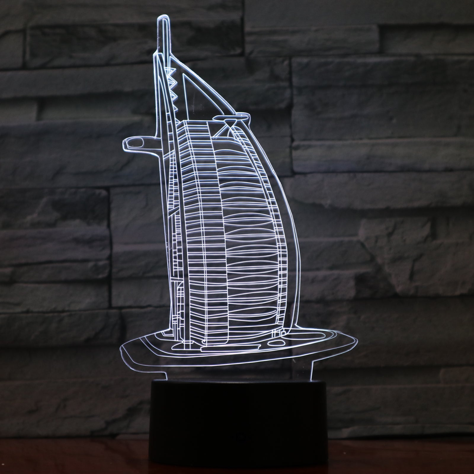 Burj Al Arab Building - 3D Optical Illusion LED Lamp Hologram