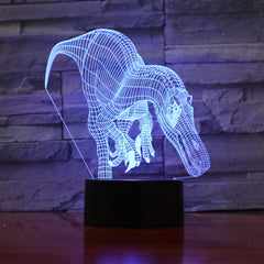 Novelty Dinosaur 3D Illusion Lamp 7 Color Change Touch Switch LED Light Acrylic Desk lamp Atmosphere as Kids Birth Gift 990